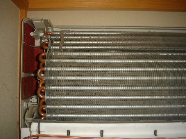 エアコン熱交換器の目詰まり